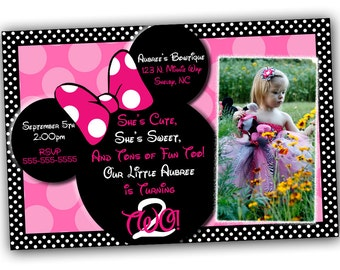 Minnie Mouse Invitation, Minnie Mouse Birthday, Pink Minnie Mouse invitations, Minnie Mouse party