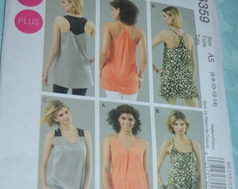 McCalls 6359 Misses / Womens Tunics Sewing Pattern - UNCUT - Size 6 8 10 12 14