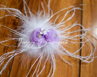 Lilac Tulle Flower Hair Clip-Flower Girl Hair Clip-Photoprop-Hair Accessory
