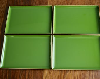Vintage MCM set of 4 Melamine CTO made in Japan party plates in green