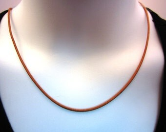 "2mm Natural Leather Cord Necklace - Pure Sterling Silver Clasp/Catch - mens/womens - 16""/18""/20""/22""/24"" inch"