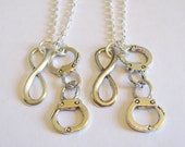 2 Partners In Crime Handcuff Infinity Best Friends Necklaces BFF SISTERS COUPLES