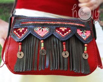 Hmong Bag, Leather Shoulder Bag, Bag, Brown Leather Bag, Leather Bag, Tribal Bag, Ethnic Bag, Shoulder Bag, Ethnic Bags, Tribal Bags