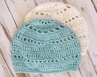 Cotton Beanie Hat | Lightweight Beanie Boho Hat | Crochet Spring Hat | Baggy Beanie | More Colors Available