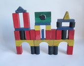 French wooden building blocks- antique construction- color wooden blocks -kids room- Eco friendly toys- french toys- architecture