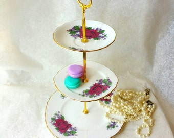 REGENT 3 Tiered Cake Stand/ Dessert Stand/Purple and Red Flowers/ Jewelry Stand /Three Tier /Vintage Plates