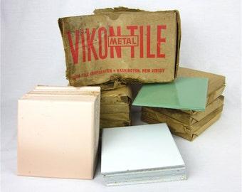 Vintage 1950s Vikon Metal Tiles, New Old Stock, Pink, White, Green, Old House Renovation Supplies