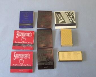 9 Vintage Matchbooks/Matchboxes Advertising Nebraska and Missouri Restaurants