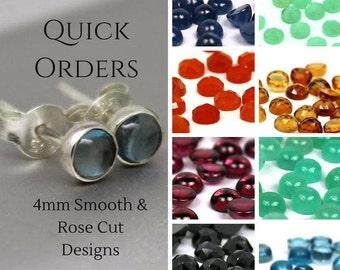 4mm Gemstone Earrings in Sterling Silver - See Full List - Sapphire Ruby Blue Topaz Carnelian Garnet Amethyst Citrine Kyanite Labradorite