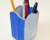 Pencil  Holder - Pen Holder - Stained Glass - Blue Swirl Wave - Desk Accessory - Office Decor - Desk Set