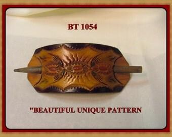 Hand tooled Leather Ponytail Barrette No. BT 1054
