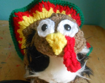 Thanksgiving Guinea pig Sweater, Crocheted Turkey Costume for Guinea pig with Matching Turkey Hat,  Guinea pig Clothes, Guinea pig Outfit,