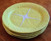 """Secla Portuguese Majolica Pottery """"Cabbage - Yellow"""" Set of Four Dinner Plates"""