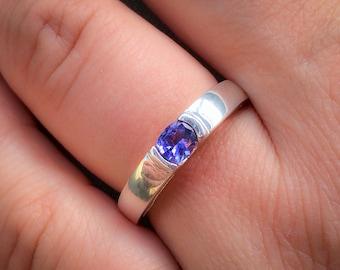 tanzanite ring gold tanzanite engagement ring violet blue tanzanite ring blue engagement ring gift for her - Tanzanite Wedding Rings