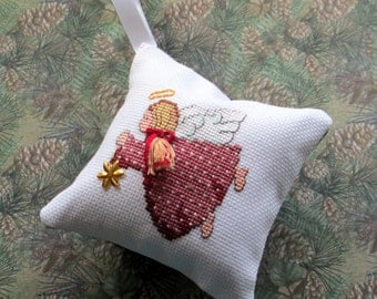 Christmas angel cross stitch ornament
