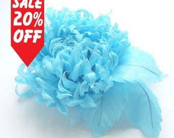Light blue fabric flower brooch, Blue silk flower, Malibu blue bridal brooch, Sky blue flower for sash, mother of a bride brooch.