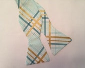 Mint Green and Gold Plaid Bow Tie