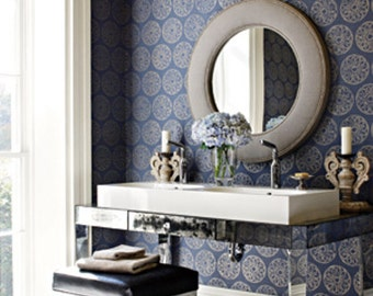 "Thibaut Wallpaper ""Maryse"" in blue and gold"