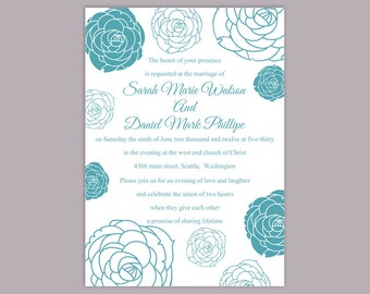 Wedding Invitation Template Download Printable Wedding Invitation Editable  Blue Invitations Floral Invitation Rose Wedding Invites DIY