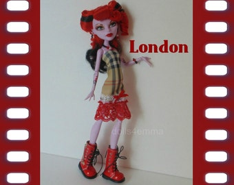 MONSTER High Doll Clothes London Dress and Jewelry Set - Handmade Custom Fashion by dolls4emma