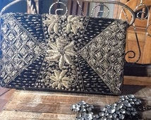 Vintage Detailed Bena ras Satin Brocade  Indian Purse with Gold threading and beadery
