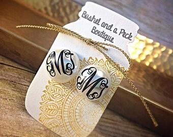 Monogram earrings, monogram pearl earrings, monogrammed pearl earrings, personalized earrings, monogram, bridesmaid gift