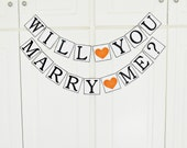 FREE SHIPPING, Will You Marry Me banner, Proposal banner, Will you marry me garland, Engagement party, Marriage proposal sign, Orange hearts