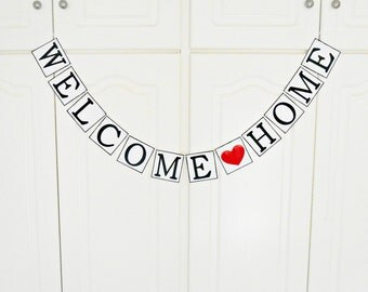 FREE SHIPPING, Welcome Home banner, Welcome home sign, Deployment homecoming, Welcome home daddy, Welcome home baby, Photo prop garland