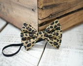 Leopard Fabric Bow Headband - 3-6m Headband - Fabric Headband - Handmade Hair Accessories