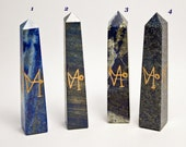 Lapis Lazuli Crystal Wand with 4 Archangel Symbols Heal with The Angels! 4 inch