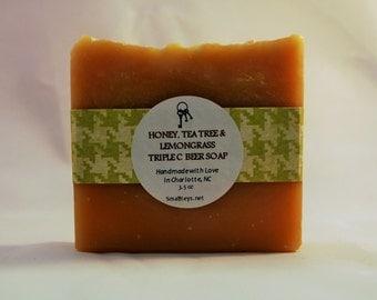 Honey, Tea Tree & Lemongrass Handmade Triple C Brewing Co Beer Soap - All Natural