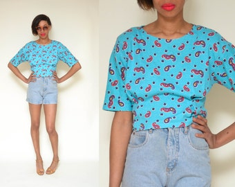 80s TEAL paisley printed crop top // blue floral print hippie boho hipster 3/4 sleeve t-shirt novelty top