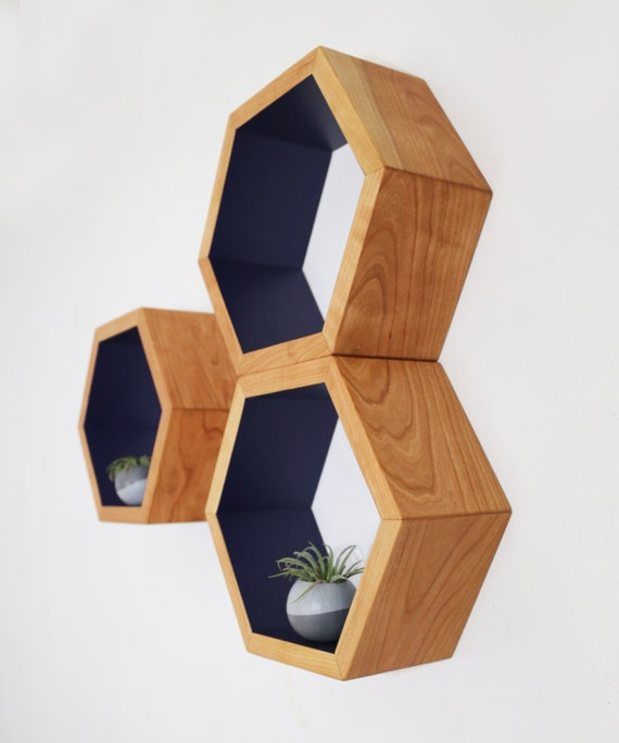 mid century shelves honeycomb shelving hexagon wall shelf. Black Bedroom Furniture Sets. Home Design Ideas