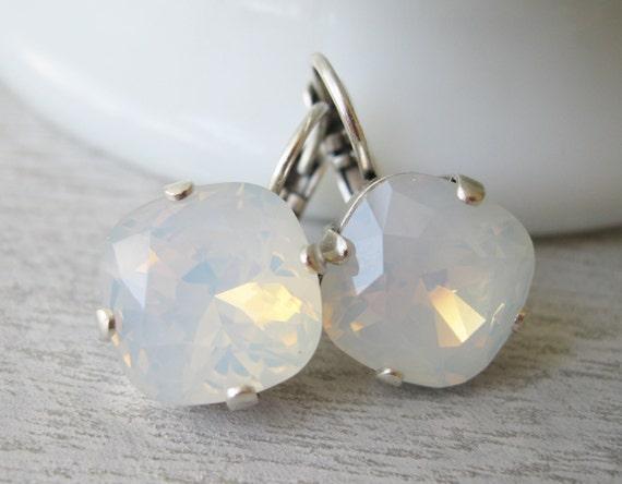 White Opal Earrings, Bridesmaid Earrings Wedding Jewelry Antique Silver Milky White Bridal Earrings White Drop Earrings Swarovski Elements