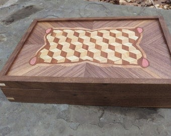 Walnut Louis Cube Parquetry and Marquetry Box