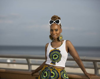 D A N I AfroT Crop Tank Top Or Long Line Tank Top with African Print Afro face appliqué