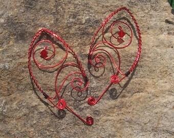 Elf Ear Cuffs - Demonic Swirl - Elven Jewelry - Red Demon Ears - Devil Ears - Blood Elf Ear Wraps