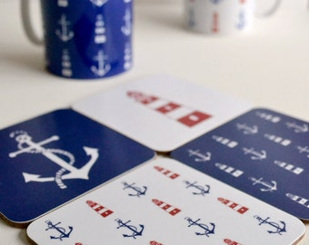 Nautical coasters, 4 complimentary nautical coasters featuring maritime designs, Red and Blue Coasters from an original linoprinted design