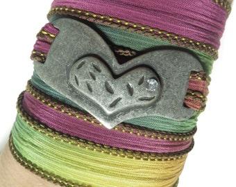 Valentine's Day Heart Silk Wrap Bracelet,Yoga Jewelry,Heart,Love,Bohemian,Wrist Band,Yoga Bracelet,Fashion Jewelry,Dyed Silk,UniqueFor Her