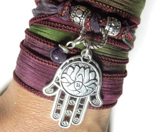 Lotus Yoga Jewelry Hamsa Silk Wrap Bracelet Hand Dyed Ribbon Bracelet Buddhist Wrist Wrap Yoga Bohemian Bracelet Spiritual Stocking Stuffer