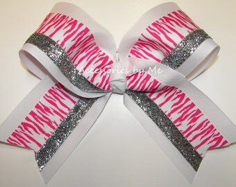 Zebra Big Cheer Bow Hot Pink White Silver Glitter Ribbons Girls Accessories Cheerleader Sports Team Spirit Competition Custom Color Choice