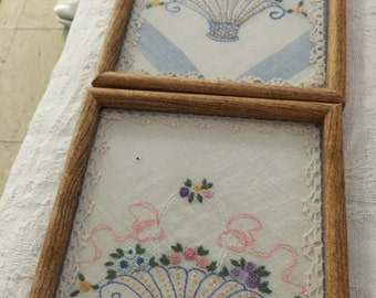 Vintage Embroidery Collages Framed (2) Charming