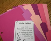 Filofax Dividers Handmade Coloured Card - Personal Size - Blue/Green/Pink/Purple