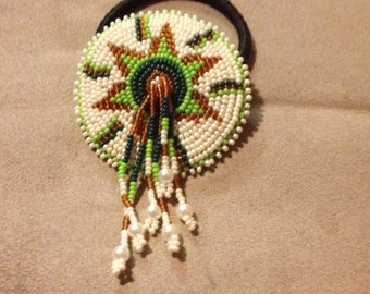 Native American Star Hand Beaded Ponytail Hair Band