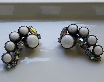Vintage Milk Glass with Iridescent Rhinestone Clip On Earrings