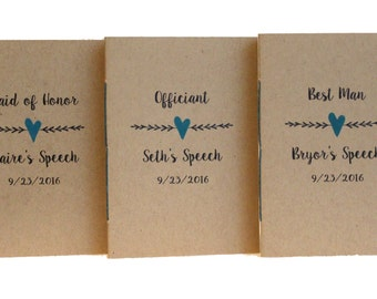 "Wedding Speech Books * Jotter Size 3.5"" X 5"" * Officiant Journal * Personalized and Customized"