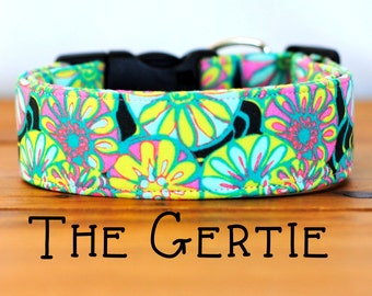 "Modern Bright Green, Turquoise & Pink Abstract Floral Dog Collar ""The Gertie"""