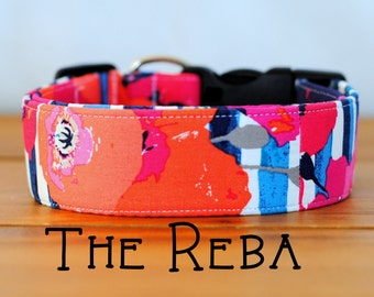 "Modern Abstract Stripes Floral Dog Collar ""The Reba"""