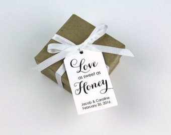 Love as Sweet as Honey - Honey Wedding Favor Tags - Bee Wedding Favor - Personalized Tags - Custom Wedding Tags - Honey Jar Tags - MEDIUM