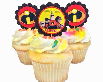 Personalized The Incredibles Cupcake Topper